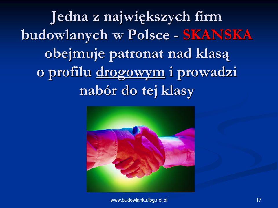 Jedna z największych firm budowlanych w Polsce - SKANSKA obejmuje patronat nad klasą o profilu drogowym i prowadzi nabór do tej klasy
