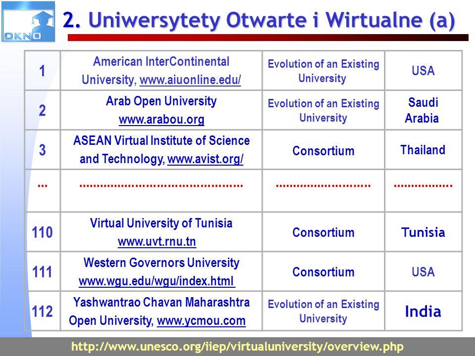 2. Uniwersytety Otwarte i Wirtualne (a)