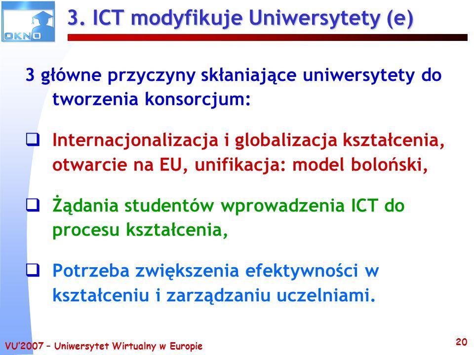 3. ICT modyfikuje Uniwersytety (e)