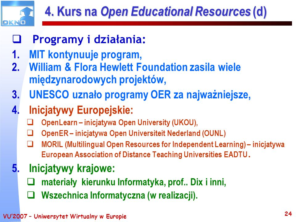 4. Kurs na Open Educational Resources (d)