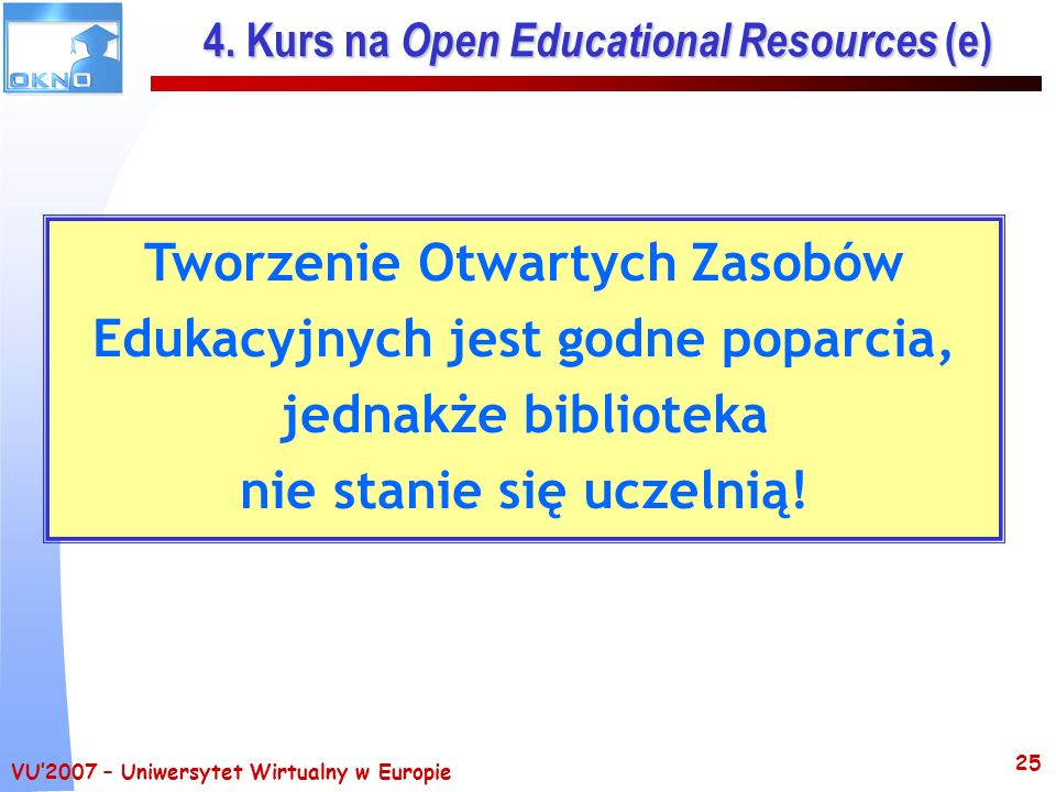 4. Kurs na Open Educational Resources (e)