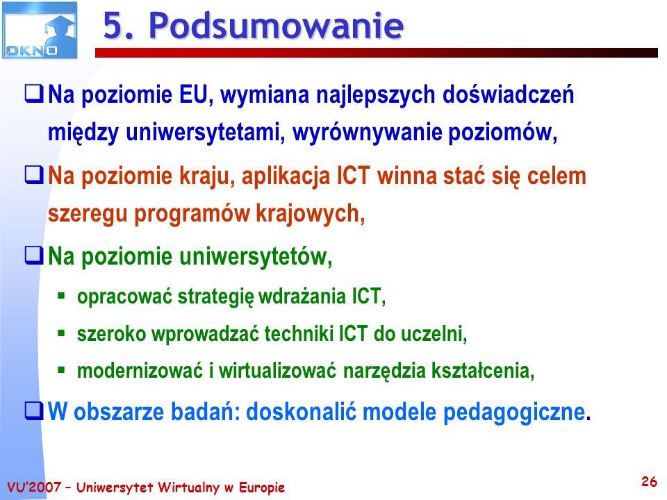 5. Podsumowanie Na poziomie EU, wymiana najlepszych doświadczeń między uniwersytetami, wyrównywanie poziomów,