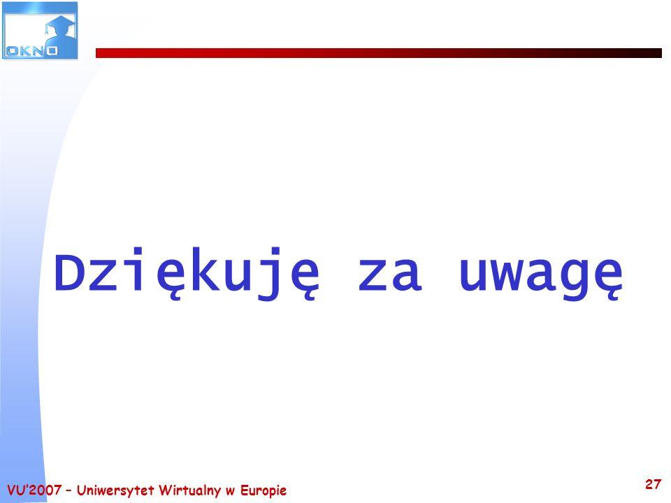 Dziękuję za uwagę VU'2007 – Uniwersytet Wirtualny w Europie