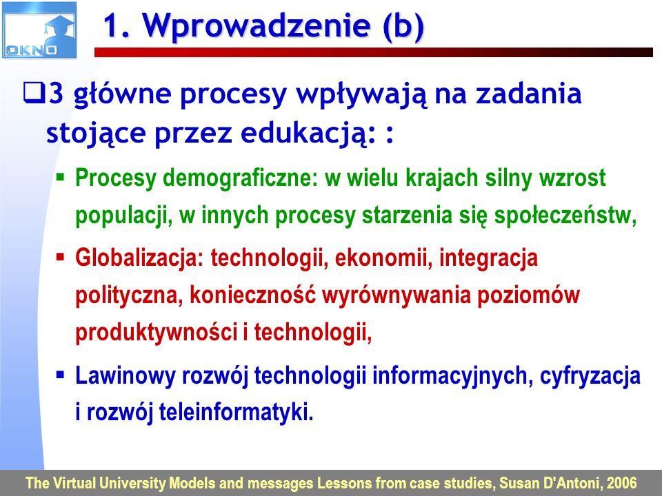 1. Wprowadzenie (b) 3 główne procesy wpływają na zadania stojące przez edukacją: :