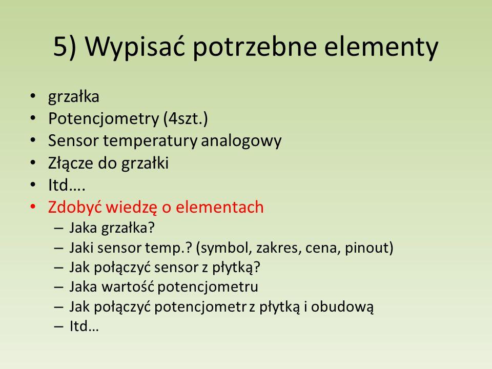 5) Wypisać potrzebne elementy