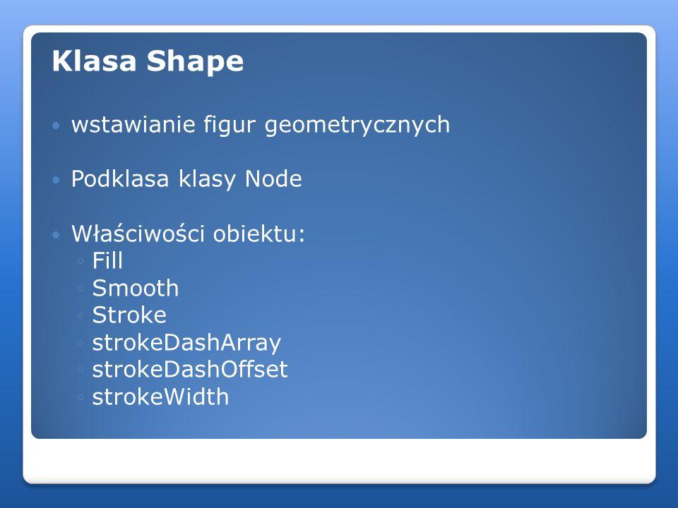 Klasa Shape wstawianie figur geometrycznych Podklasa klasy Node