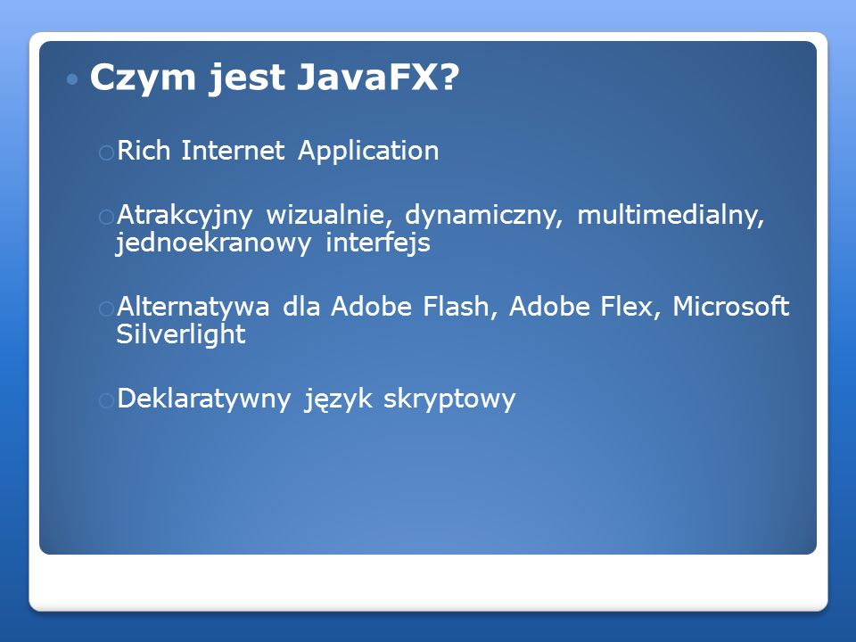 Czym jest JavaFX Rich Internet Application