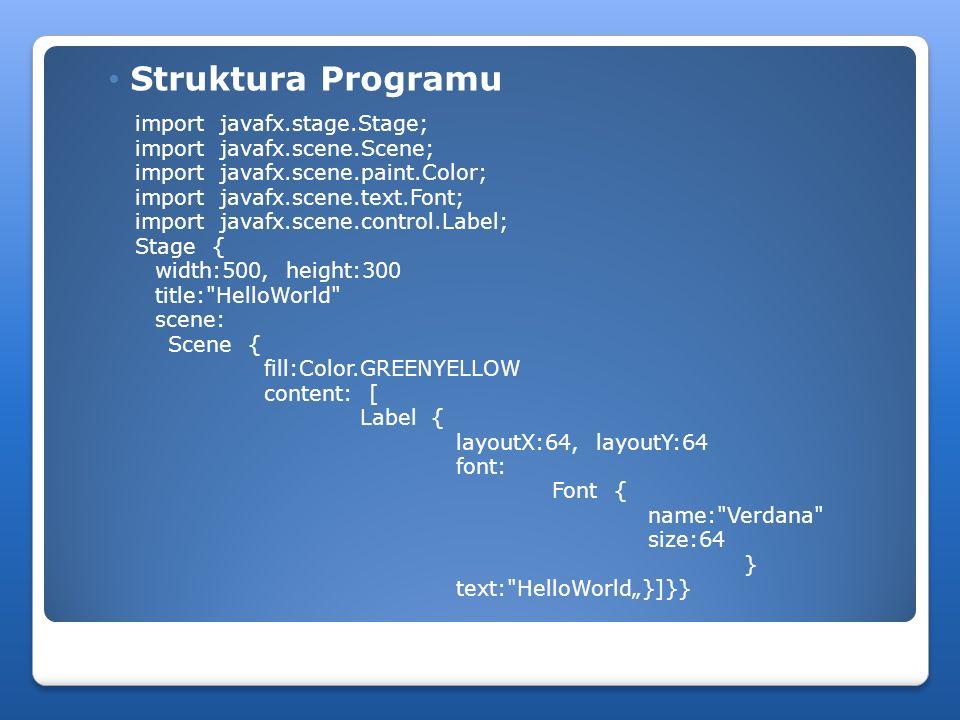 Struktura Programu import javafx.stage.Stage;