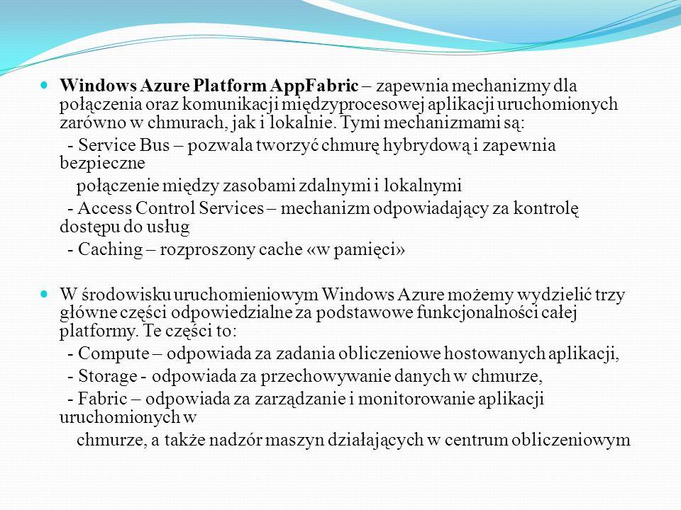 Windows Azure Platform AppFabric – zapewnia mechanizmy dla połączenia oraz komunikacji międzyprocesowej aplikacji uruchomionych zarówno w chmurach, jak i lokalnie. Tymi mechanizmami są: