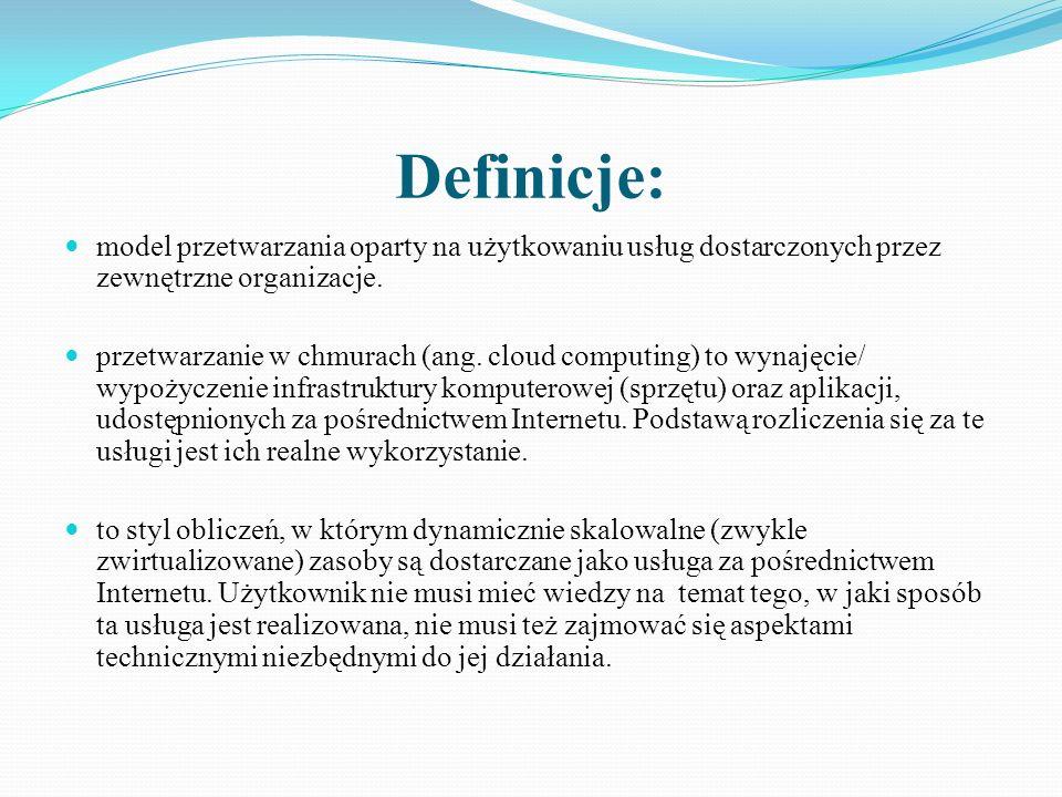 Definicje: model przetwarzania oparty na użytkowaniu usług dostarczonych przez zewnętrzne organizacje.