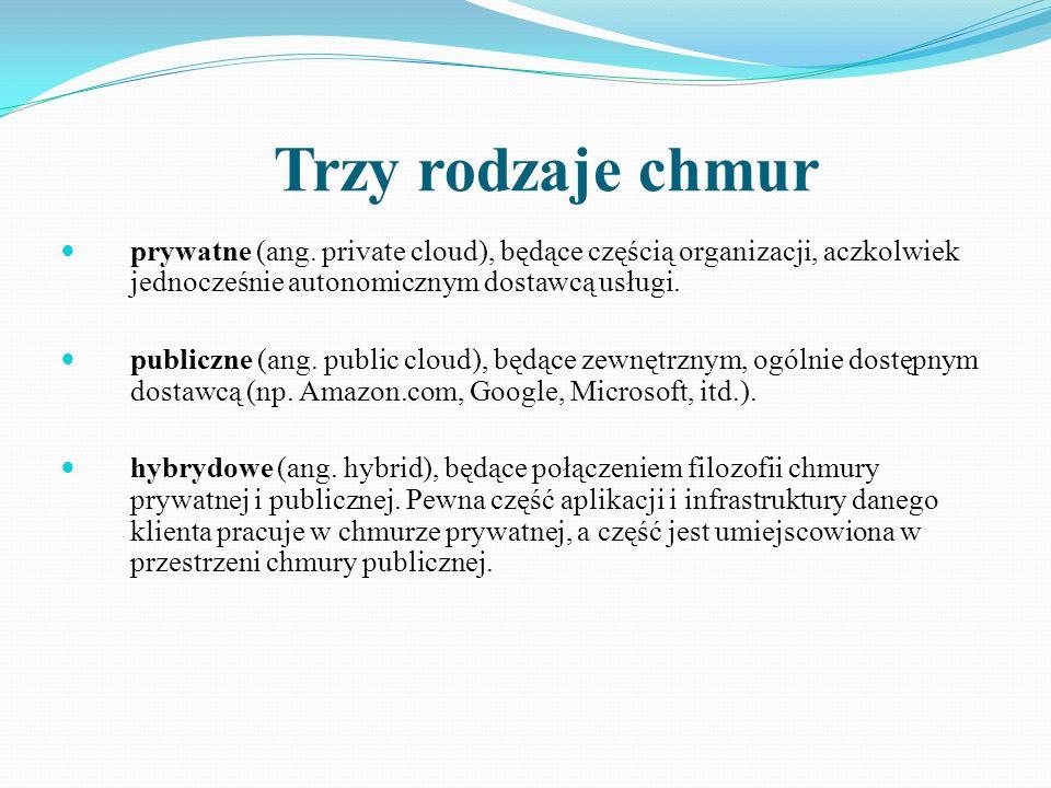 Trzy rodzaje chmur prywatne (ang. private cloud), będące częścią organizacji, aczkolwiek jednocześnie autonomicznym dostawcą usługi.