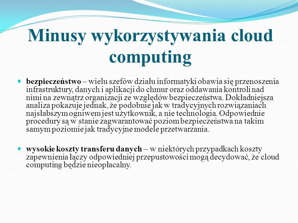 Minusy wykorzystywania cloud computing