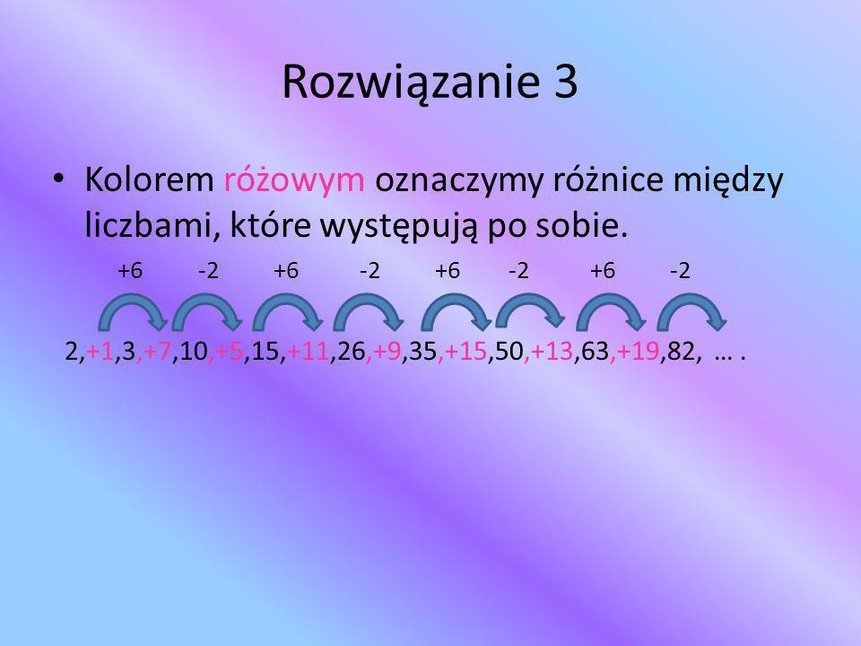 Rozwiązanie 3 Kolorem różowym oznaczymy różnice między liczbami, które występują po sobie.