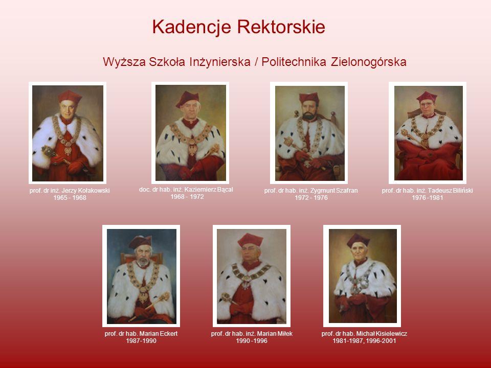 Kadencje RektorskieWyższa Szkoła Inżynierska / Politechnika Zielonogórska. prof. dr inż. Jerzy Kołakowski.
