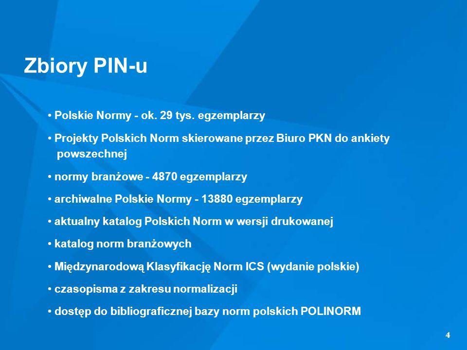 Zbiory PIN-u Polskie Normy - ok. 29 tys. egzemplarzy