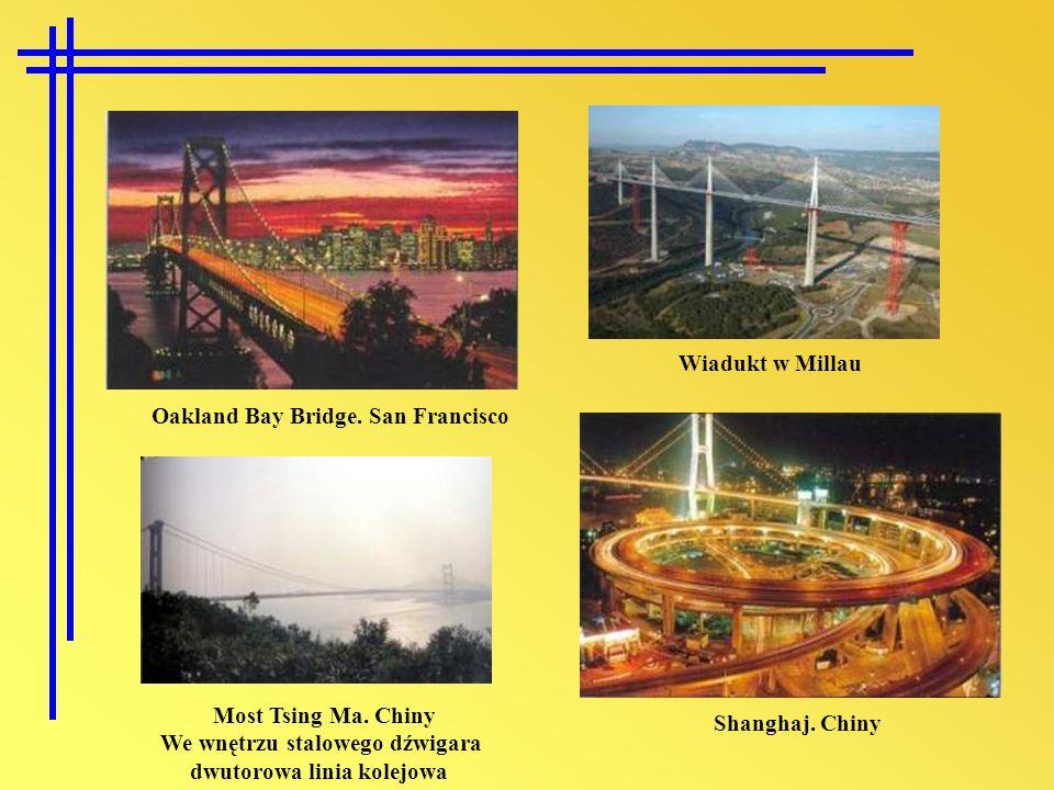 Wiadukt w Millau Oakland Bay Bridge. San Francisco. Most Tsing Ma. Chiny. We wnętrzu stalowego dźwigara.