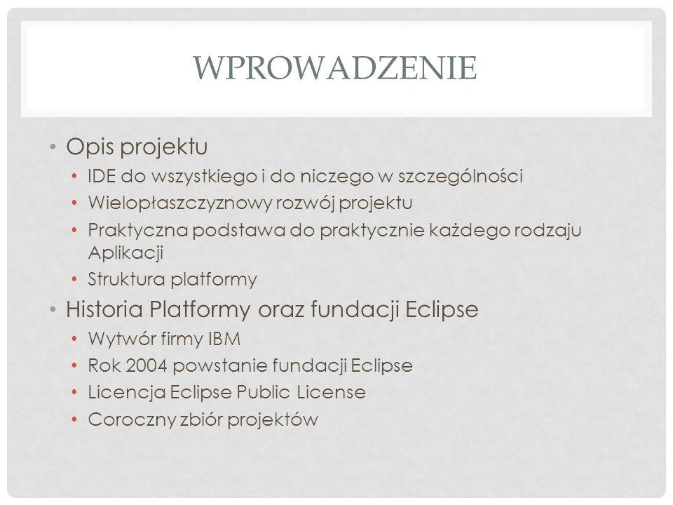 Wprowadzenie Opis projektu Historia Platformy oraz fundacji Eclipse