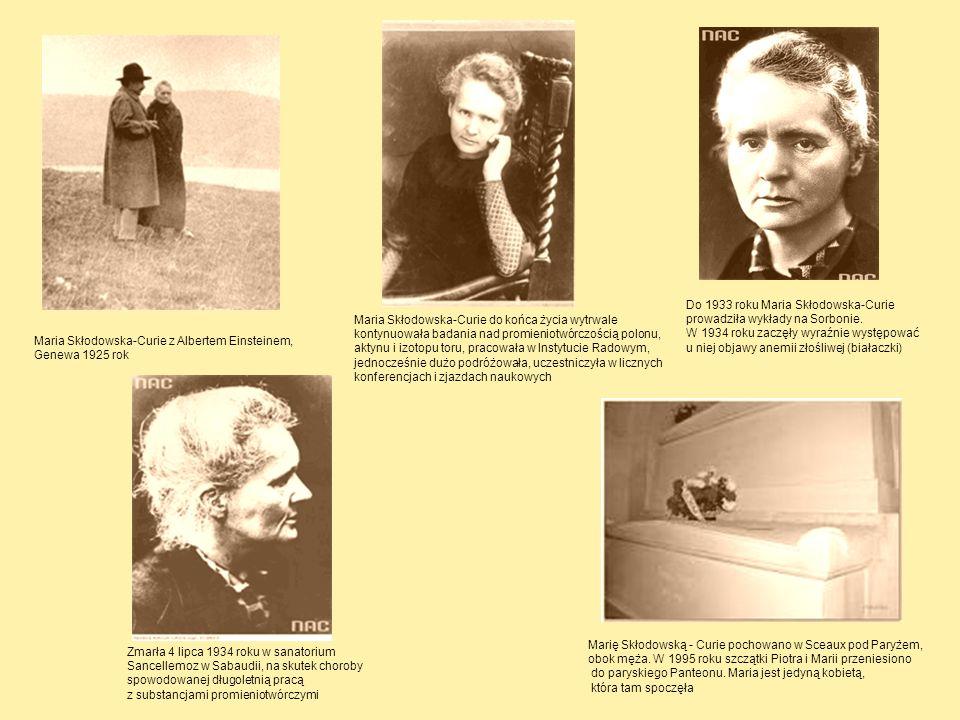 Do 1933 roku Maria Skłodowska-Curie