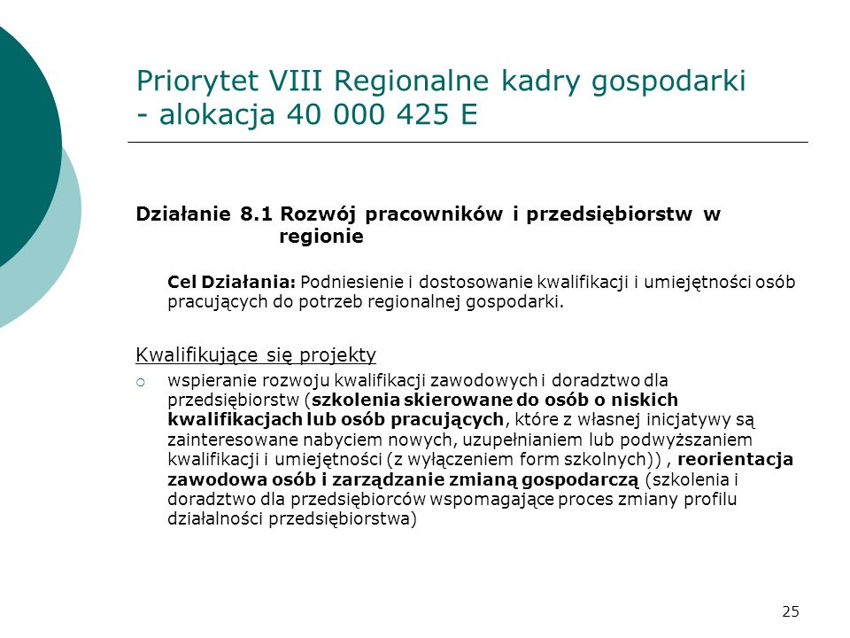Priorytet VIII Regionalne kadry gospodarki - alokacja 40 000 425 E