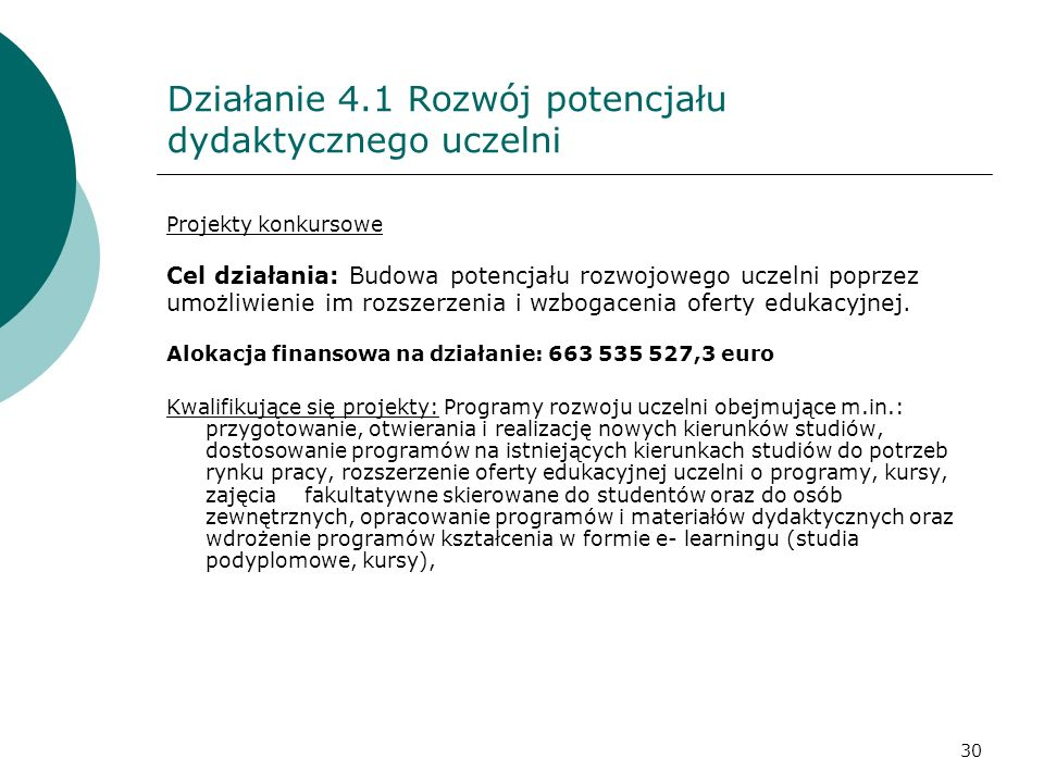 Działanie 4.1 Rozwój potencjału dydaktycznego uczelni