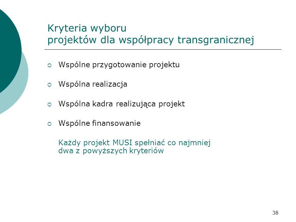 Kryteria wyboru projektów dla współpracy transgranicznej