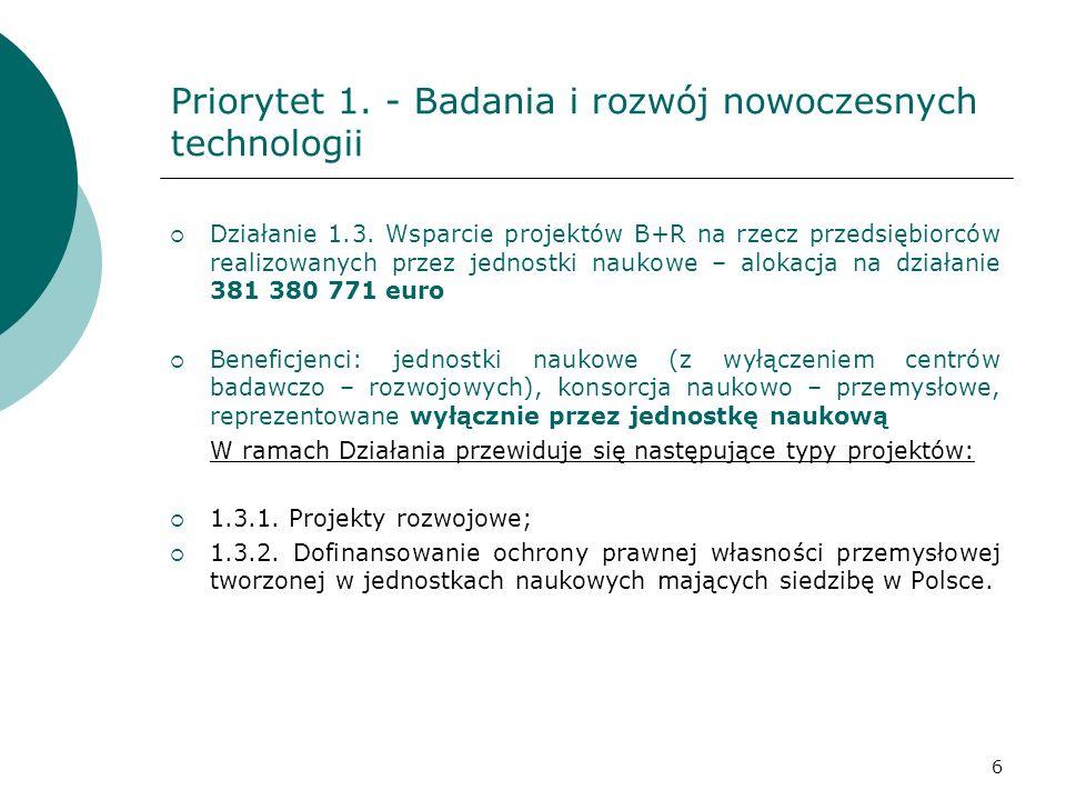 Priorytet 1. - Badania i rozwój nowoczesnych technologii