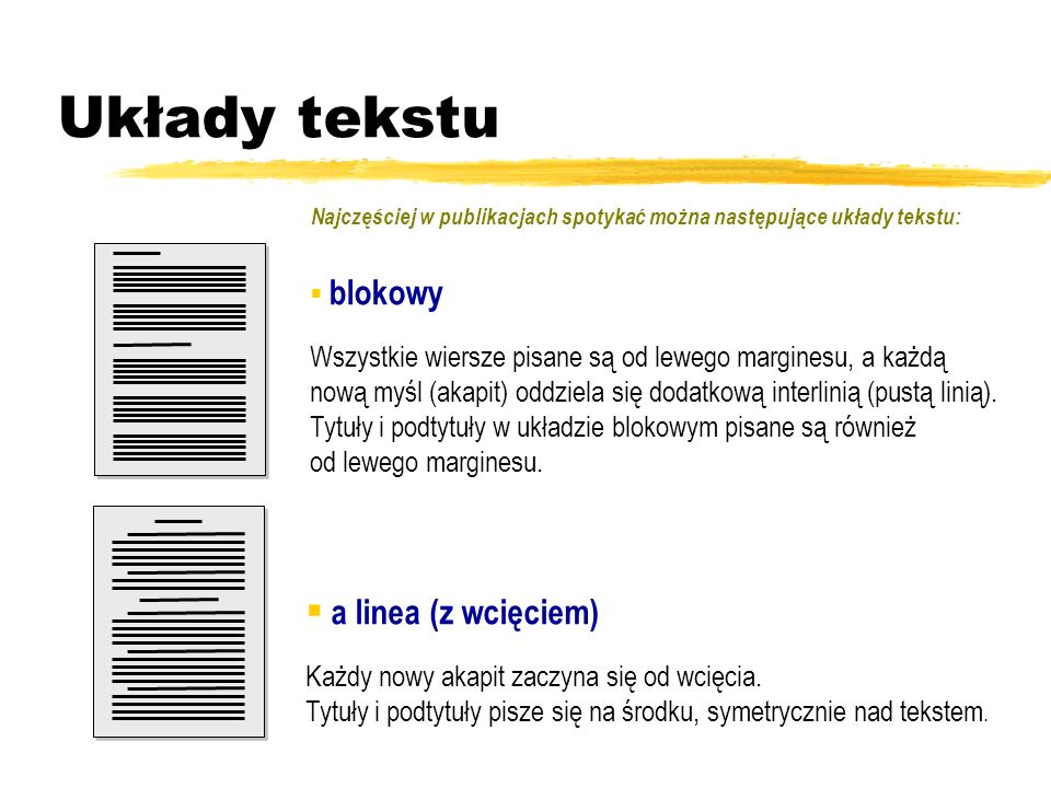 Układy tekstu a linea (z wcięciem)