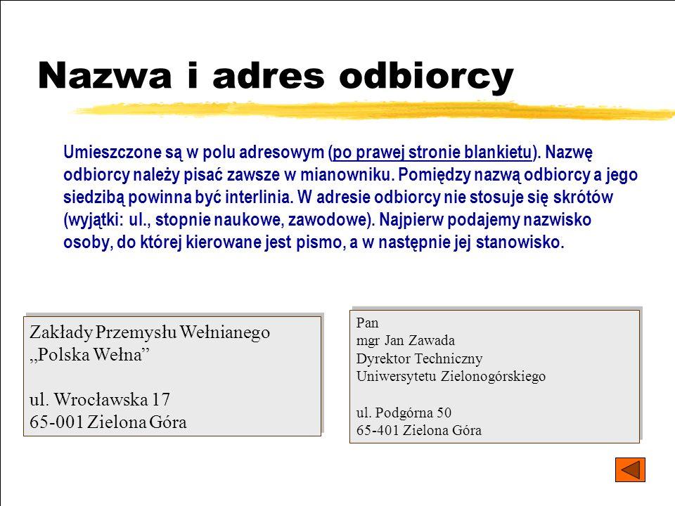 Nazwa i adres odbiorcy
