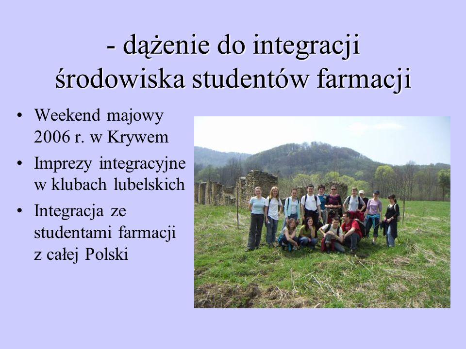 - dążenie do integracji środowiska studentów farmacji