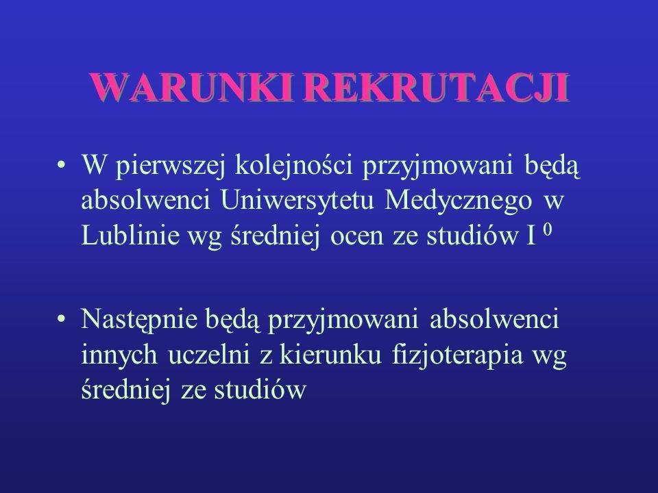 WARUNKI REKRUTACJI W pierwszej kolejności przyjmowani będą absolwenci Uniwersytetu Medycznego w Lublinie wg średniej ocen ze studiów I 0.