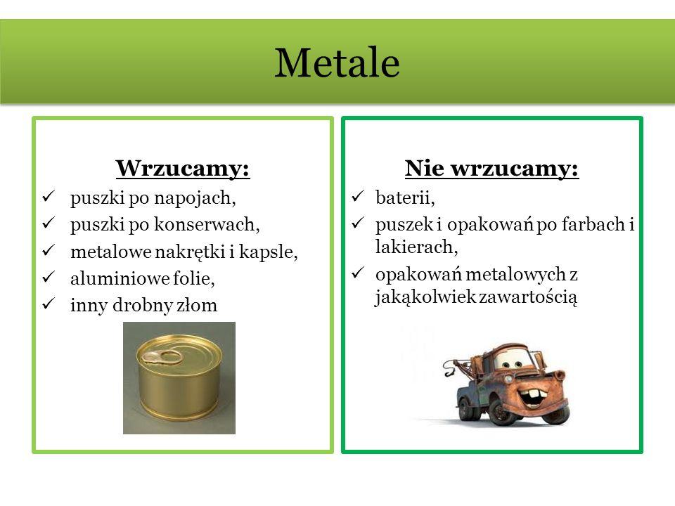 Metale Wrzucamy: Nie wrzucamy: puszki po napojach,