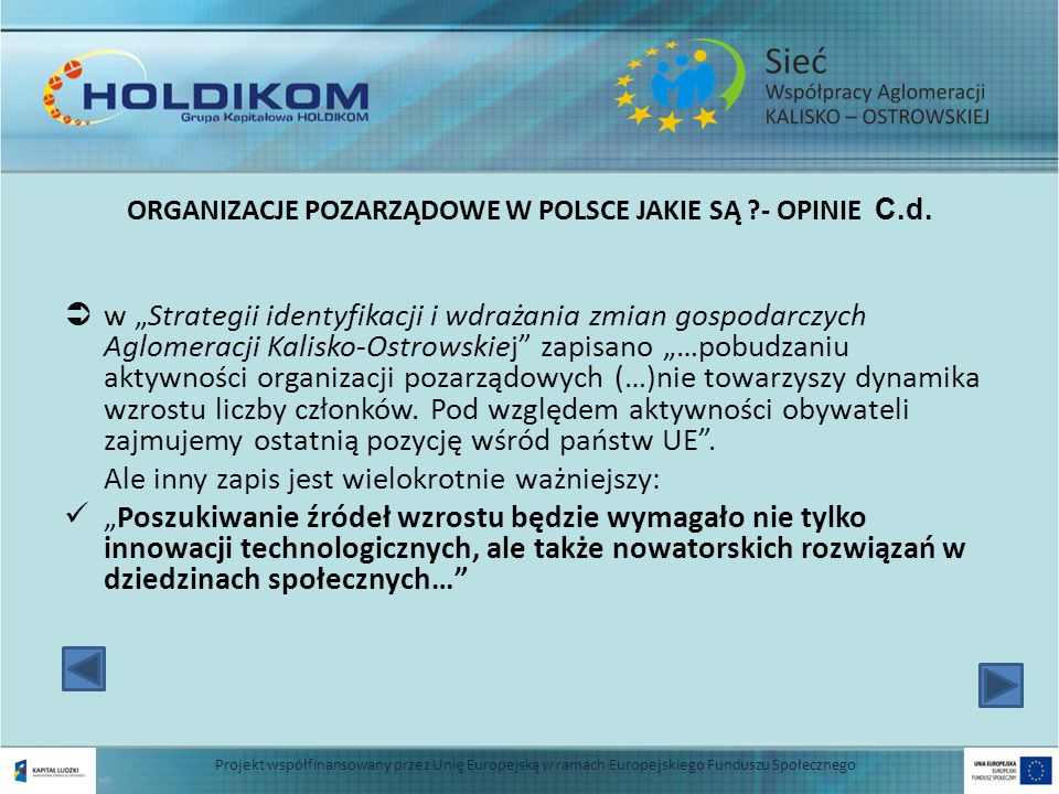 ORGANIZACJE POZARZĄDOWE W POLSCE JAKIE SĄ - OPINIE C.d.