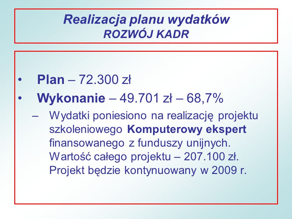 Realizacja planu wydatków ROZWÓJ KADR