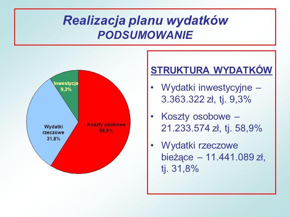 Realizacja planu wydatków PODSUMOWANIE