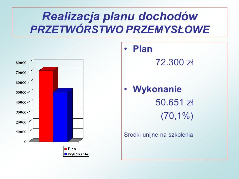 Realizacja planu dochodów PRZETWÓRSTWO PRZEMYSŁOWE
