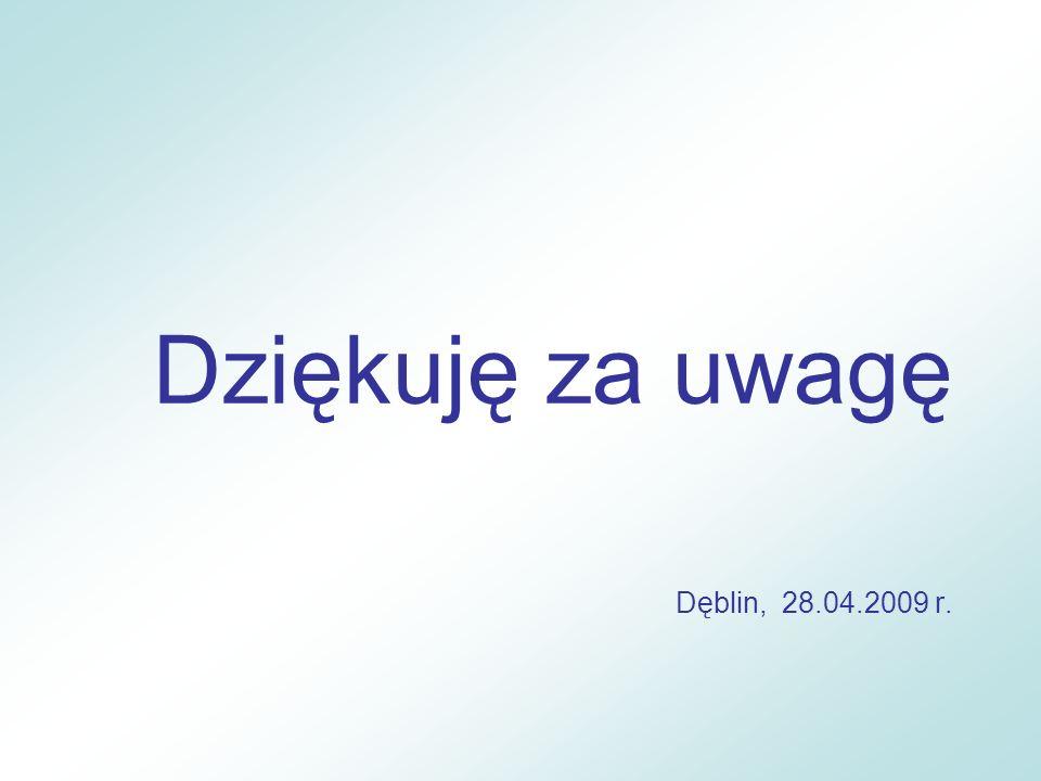 Dziękuję za uwagę Dęblin, 28.04.2009 r.