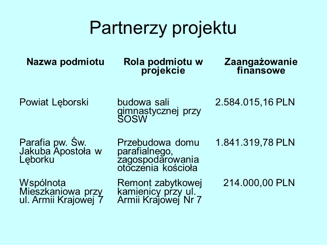 Rola podmiotu w projekcie Zaangażowanie finansowe