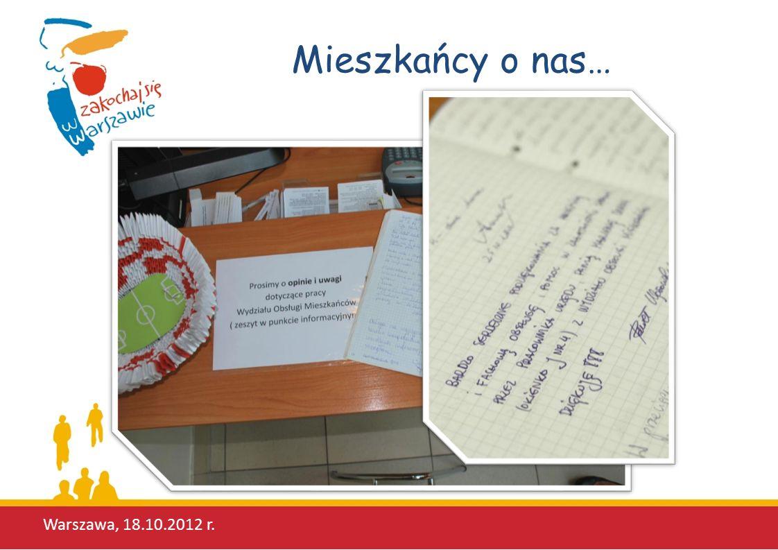 Mieszkańcy o nas… Warszawa, 18.10.2012 r.