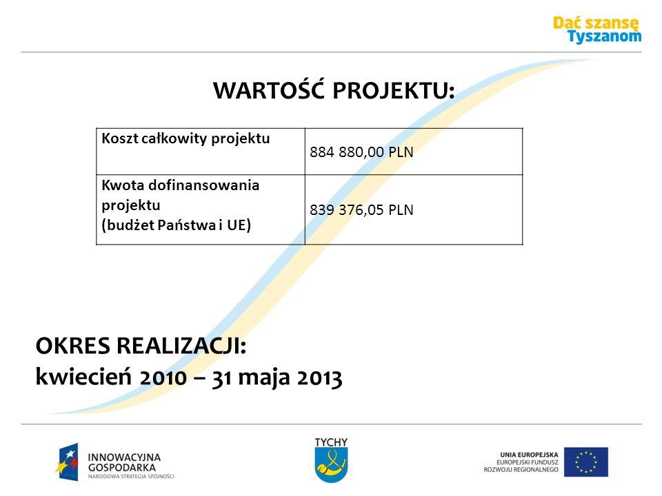 WARTOŚĆ PROJEKTU: OKRES REALIZACJI: kwiecień 2010 – 31 maja 2013