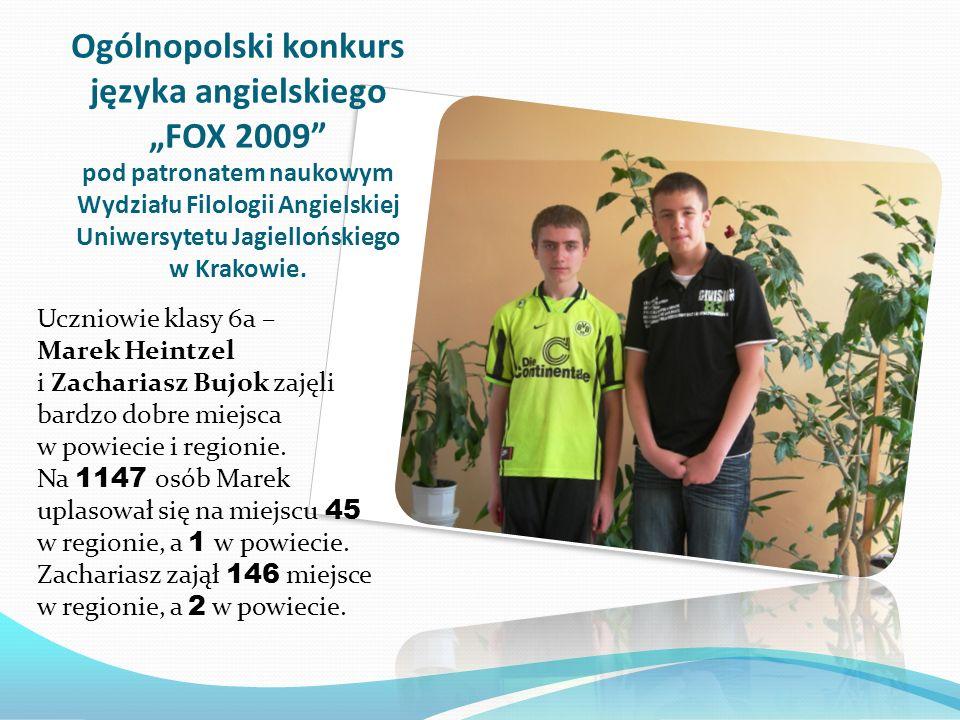 """Ogólnopolski konkurs języka angielskiego """"FOX 2009 pod patronatem naukowym Wydziału Filologii Angielskiej Uniwersytetu Jagiellońskiego w Krakowie."""