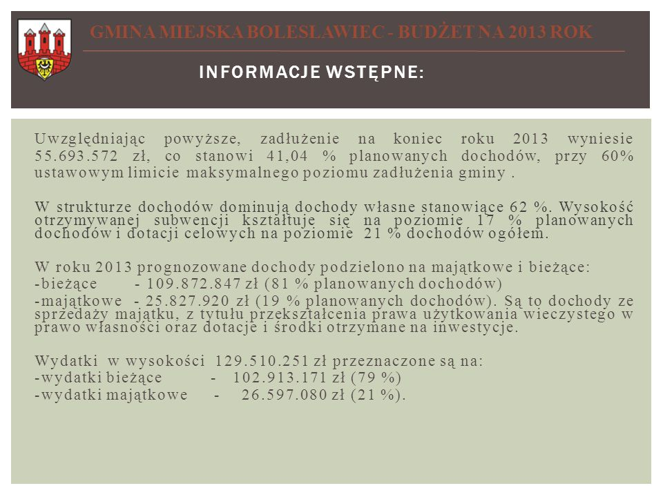 GMINA MIEJSKA BOLESŁAWIEC - BUDŻET NA 2013 ROK
