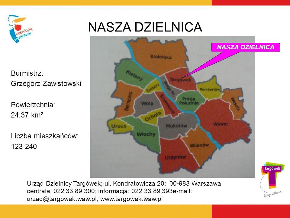 NASZA DZIELNICA Burmistrz: Grzegorz Zawistowski Powierzchnia: