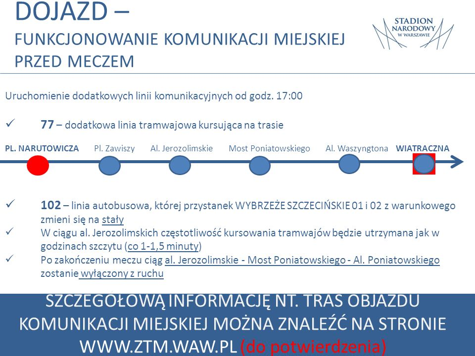 DOJAZD – FUNKCJONOWANIE KOMUNIKACJI MIEJSKIEJ PRZED MECZEM. Uruchomienie dodatkowych linii komunikacyjnych od godz. 17:00.