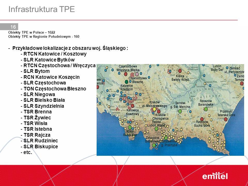 Infrastruktura TPE Przykładowe lokalizacje z obszaru woj. Śląskiego :