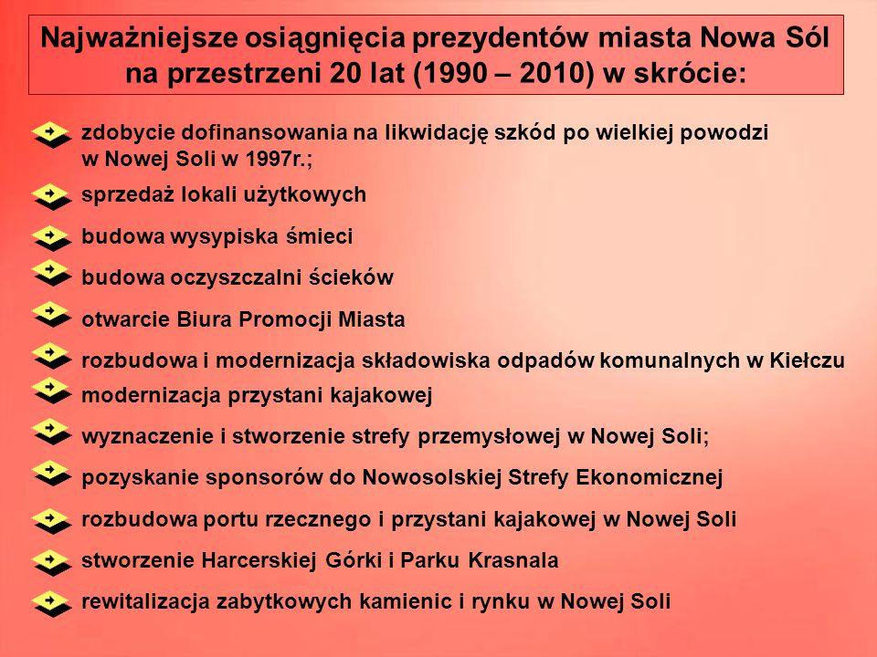 Najważniejsze osiągnięcia prezydentów miasta Nowa Sól na przestrzeni 20 lat (1990 – 2010) w skrócie: