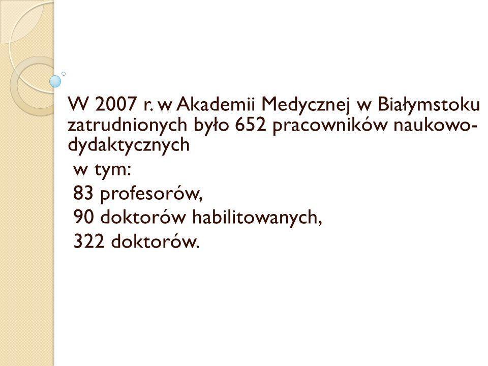 W 2007 r. w Akademii Medycznej w Białymstoku zatrudnionych było 652 pracowników naukowo- dydaktycznych