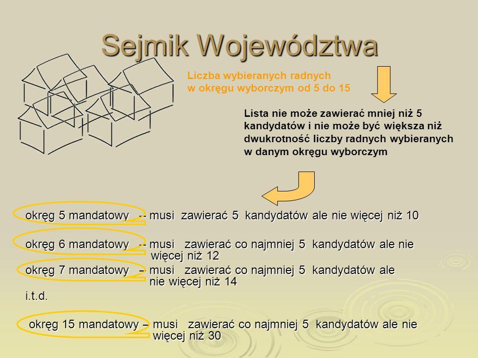 Sejmik Województwa Liczba wybieranych radnych w okręgu wyborczym od 5 do 15.