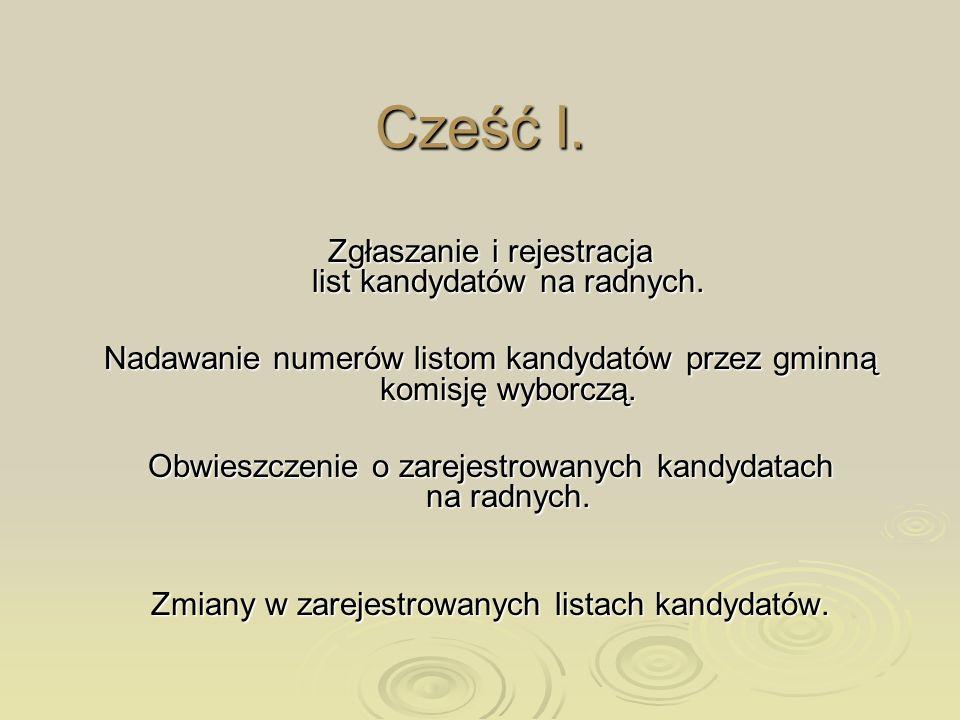 Cześć I. Zgłaszanie i rejestracja list kandydatów na radnych.