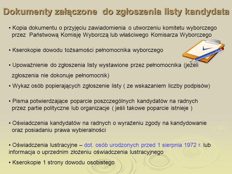 Dokumenty załączone do zgłoszenia listy kandydata
