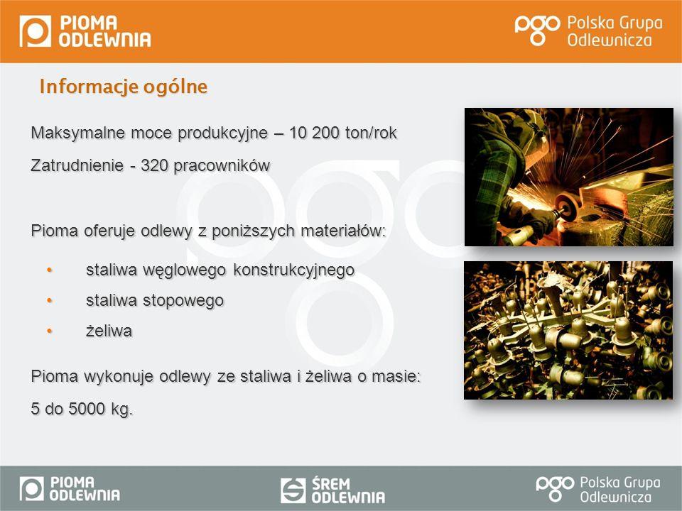 Informacje ogólne Maksymalne moce produkcyjne – 10 200 ton/rok